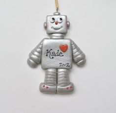 Personalized Robot Christmas  Ornament by cyndesminis on Etsy
