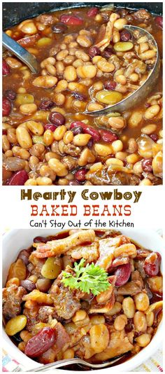Hearty Cowboy Baked Beans   Can't Stay Out of the Kitchen   the most spectacular baked beans side dish you'll ever eat! This one's filled with ground beef, bacon, and 6 kinds of beans and made in the slow-cooker!