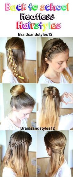 9 Back to School heatless Hairstyles by Braidsandstyles12 Youtube Channel : https://www.youtube.com/channel/UC8ouEGIBm1GNFabA_eoFbOQ