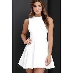 Fun-Loving Ivory Skater Dress ($49) ❤ liked on Polyvore featuring dresses, white, flared skirt, ivory skater dress, sleeveless dress, white skater dress and skater skirt dress