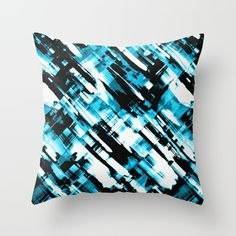 SOLD Pillow Hot blue and black digital art G253 https://society6.com/product/fluid-colors-g253_pillow#s6-2654850p26a18v129a25v193 #Society6 #pillow #cushions #painting #grunge #brushstrokes #abstract #black #blue