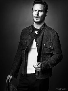 Michael Fassbender; Scruffy, denim jacket, white shirt........he makes it look SO good.