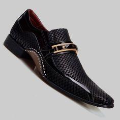 Sapato Social Masculino Calvest Preto com Metal Dourado VM - 1930C229 VM