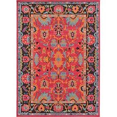 Add bright and fun style to any room in your home with the Unique Loom Flamenco Medici Rug. Boasting a floral motif and vibrant colors, this rug is power loomed from polypropylene, offering a plush and durable feel that withstands foot traffic. Floral Area Rugs, Blue Area Rugs, Red Oriental Rug, Rectangular Rugs, Power Loom, Animals For Kids, Outdoor Rugs, Abstract Pattern, Vintage Floral