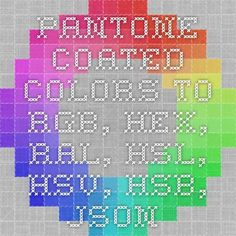 pantone coated colors to rgb hex ral hsl hsv hsb