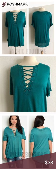 """Laced up look shirt Laced up look tshirt. 100% rayon. Lightweight, super soft, and stretchy! These are somewhat sheer. Side slits. Cuffed sleeves (sewn cuffed). For a less fitted/ more flowy look please order up one size.  1x: L 30"""" B 42"""" 2x: L 30"""" B 44"""" 3x: L 31"""" B 46"""" ⭐️This item is brand new with tags Price is firm unless bundled ✅Bundle offers Availability: 2x • 1 Tops"""