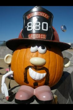 Firefighter Pumpkin. My daughter and I make this guy every year. We've lost some of the original parts from the kit so we improvise with a  a permanent marker 'Stach and a decorative old school helmet. #firefighterpumpkin #halloween Firefighter Halloween, Firefighter Decor, Halloween Pumpkins, Halloween Decorations, Halloween Costumes, Halloween Ideas, Trunk Or Treat, Pumpkin Crafts, Christmas Makes