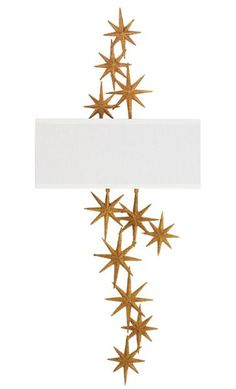 """Christopher Guy's constellation sconce will add whimsical beauty to your interiors. Hand-carved of mahogany, it is available in a sands-gold (shown) or moon-dust-silver finish and measures 37"""" h. x 16"""" w. x 5"""" d.; $2,490, shade included. christopherguy.com, 800-476-9505"""
