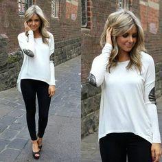 Black Leggings White Shirt