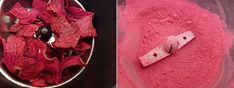 DIY beet powder  If you have use a dehydrator.  Slice your beet into very thin strips and lay on the dehydrator screen. Place in a dehydrator set to a temp of about 100°F and dehydrate for 8-10 hours. Once dried, crunch up beet chips with your hands and place in the coffee grinder. Pulse until beets are a fine powder with no bits.  This beet powder is a natural blush!  Just put some of this ground powder in a glass jar and use as you would any loose powder blush. Store in a dark, cool place.