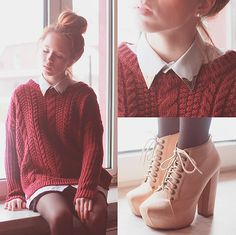 collar shirt and sweater... NEEEEEEED THIS OUTFIT.