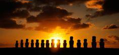 Easter Island  Moai sunset. Image: Aerial Cam (c) Adam Stanford