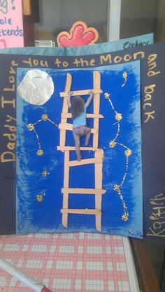 Fathers day. Preschool art. Popsicle sticks. And photo, we haf the kids pretend they were climing a wall. Spiderman style.