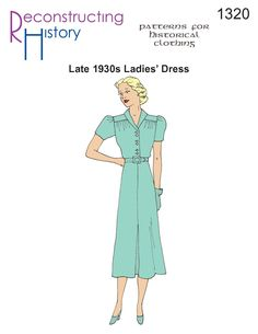 Get this 1930s Day Dress pattern and be gorgeous by dinnertime! Based on an original pattern from the late 1930s, this simple day dress shows the beginnings of the 1940s style to come.  Short puffed sleeves and wide shoulders are the hallmarks of this design.  A center back pleat on the blouse adds interest.  Center …