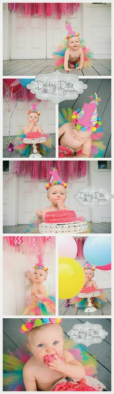 cutest cake smash one year session ever!  baby girl and her party balloons Debby Ditta Photography: Happy first birthday One year old cake smash session Tomball, Spring, the Woodlands, Magnolia, Conroe, Cypress, Montgomery, Houston TX Texas photographer