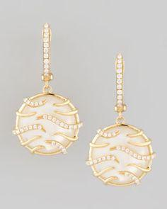 O5428 Frederic Sage Luna Mini 18k Yellow Gold Diamond Mother-of-Pearl Earrings #FredericSage
