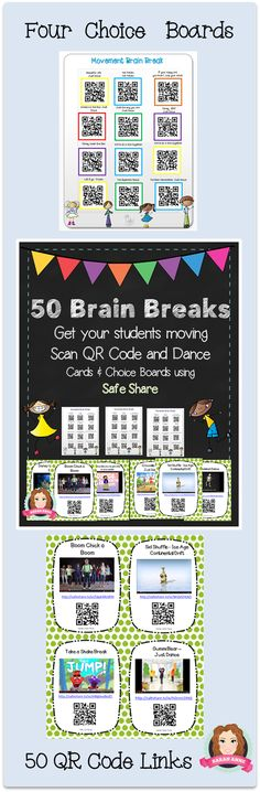 Gross Motor, Dance or Just for fun 50 Brain Breaks Song and Dance Cards with QR codes allow flexible use from individual to whole class. All In SafeShare, these link to the most popular Brain Break Dances/Songs enabling a range of uses in the classroom: Individual Brain Break on an ipod touch (Scan QR Code and Dance); Small Group Brain Break around an ipad (Scan and Dance); Whole Class Brain Break on ActivBoard (Open PDF, click on the link and Dance). #brain #break #brainbreaks #tpt…