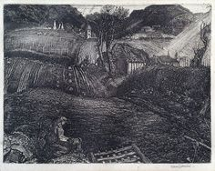 SUTHERLAND, GRAHAM (1903-1980), 'THE VILLAGE', ETCHING, 1925.
