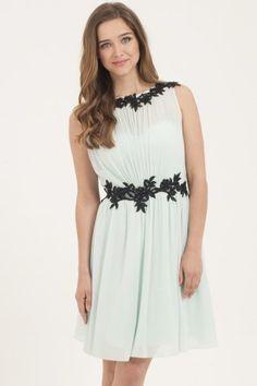 Little Mistress Mint & Black Floral Lace Applique Chiffon Dress