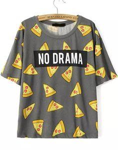 Camiseta manga corta NO DRAMA pastel-gris 12.42