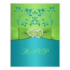 Turquoise, Lime Floral Joined Hearts RSVP Card