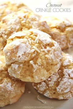 Coconut Crinkle Cookies – easy one-bowl cookies with lots of coconut flavor thanks to the extract and shredded coconut!