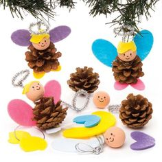 Buy Angel Pine Cone Decoration Kits at Baker Ross. Add a splash of magic to reveal your pine cone's true form! Christmas Angels, Kids Christmas, Christmas Crafts, Christmas Ornaments, Pinecone Crafts Kids, Pine Cone Crafts, Diy For Kids, Crafts For Kids, Arts And Crafts