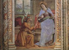 Santa Maria Novella - Church and Cloisters - Florence. Tornabuoni Часовня Доменико Гирландайо. Благовещение. 1485 - 1490