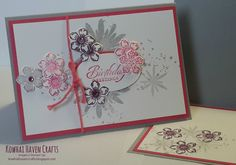Cards of the month by Kowhai Haven Crafts using Stampin' Up! The Petite Petals Card show cases the Petite Petals punch and stamp set and the Flower Patch stamp set. Craft Images, Show Case, Flower Patch, I Card, Punch, Stampin Up, Card Making, Patches, Gallery Wall