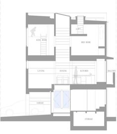 The front elevation, showing everything from the roof deck to the basement.  #TinyHouseforUs