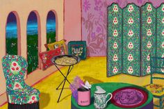 The range is inspired by creative director Alessandro Michele's much celebrated fashion collections - bringing his signature bright, bold patterns and floral and animal motifs to teapots, furniture, cushions, crockery and silk screens