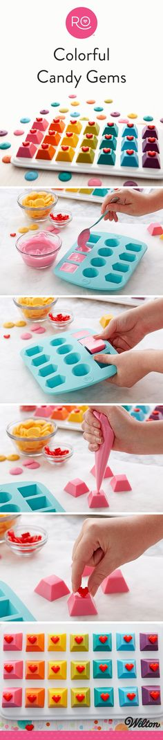 How to Make Colorful Candy Gems - Create a colorful assortment of delicious sweet treats with this Colorful Candy Gems project. Featuring the Rosanna Pansino Silicone Gem Mold and a large assortment of colorful Candy Melts candy, these Colorful Candy Gems are a great way to celebrate your nerdery! Fun for gifting or arranging into an edible keyboard for game night, these Colorful Candy Gems are a sweet treat you're sure to love!