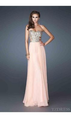 Fashion Natural A-Line Sleeveless Long Strapless Prom Dresses In Stock tzdress3675