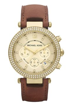 Michael Kors 'Parker' Chronograph Leather Watch