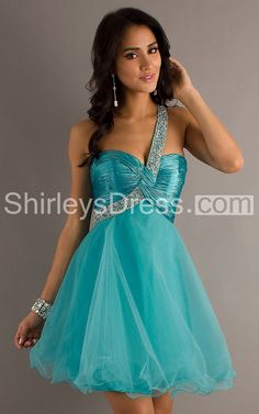 Stylish One-shoulder A-line Short Gown with Sequins and Ruche