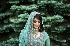 Breathtaking choker necklace and Robin egg blue salwar for your perfect dream wedding - Unique contemporary bride.