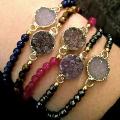 #AlexandraBeth — Beaded Druzy Bracelet You could put beads by the knots JK and then Druzy in the middle