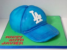 LA Dodger baseball hat cake