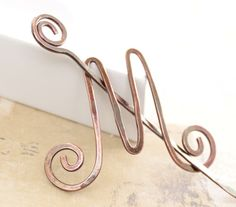 Copper shawl pin or scarf pin in letter 'M' personalized initial with a pin stick