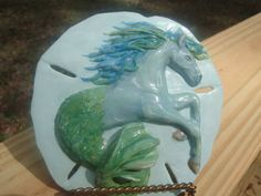 Sea Horse Sculpture on  Real Sand Dollar by ADragonflysFancy, $29.00