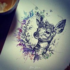 (Emily's Moose nice Couples Tattoos Ideas – Karolina Kubikowska deer tattoo idea – awesome! Hirsch Tattoos, Hirsch Tattoo Frau, Fawn Tattoo, Moose Tattoo, Baby Deer Tattoo, Deer Head Tattoo, Piercings, Piercing Tattoo, Neue Tattoos
