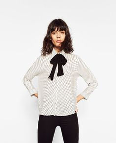 POLKA DOT AND BOW SHIRT-View all-TOPS-WOMAN | ZARA United States