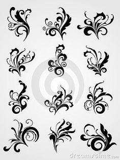 Antique scroll pattern black tattoos by Abdul Qaiyoom, via Dreamstime