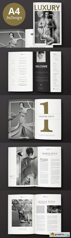 Strong serif type, natural tones, centered layouts