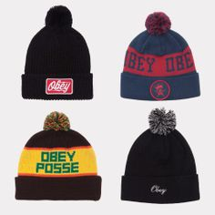 OBEY Pom-Pom Beanies the second one is so cute