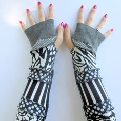 Recycled Sweater Arm Warmers - Long Arm Gloves - Long Fingerless Gloves - Typing Gloves - Festival Gloves - Gypsy Gloves - Hippie Gloves by ThankfulRose on Etsy
