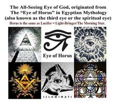 "The All-Seeing Eye of God, originated from The ""Eye of Horus"" in Egyptian Mythology (also known as the third eye or the spiritual eye/pineal gland ). Horus is the same as Lucifer = Light-Bringer/The Morning Star/Spiritual light.. The ""One Eye"" symbol has been used by Egyptians, Christians, Freemasons, Illuminati, the Cabal, and can be found on the the One Dollar Bill."