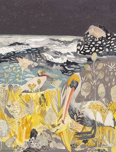 Michelle Morin - Winter Pelicans and Yarrow