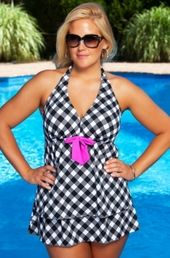 Women's Plus Size Swimwear - Always For Me Chic Prints Gingham Check 2 Pc Skirtini