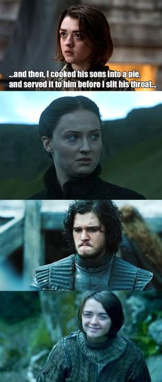 "Some pointed out that the Stark reunion might be a little…intense. | We Need To Talk About Arya In The ""Game Of Thrones"" Finale (Favorite Meme Laughing)"